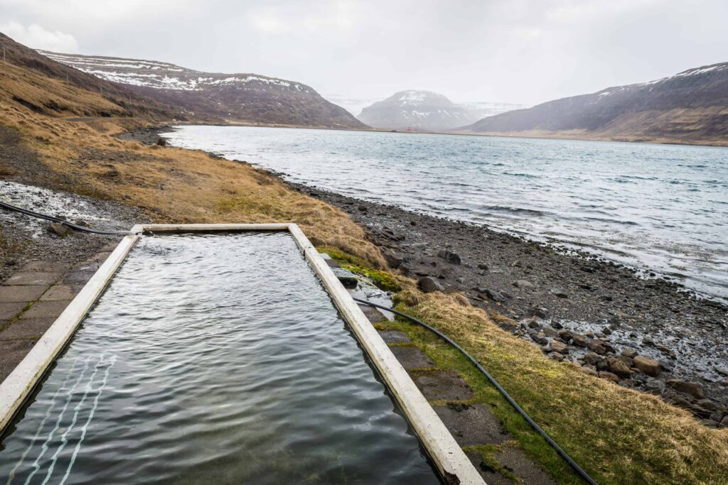 Hörgshlíðarlaug hot spring in Westfjords of Iceland