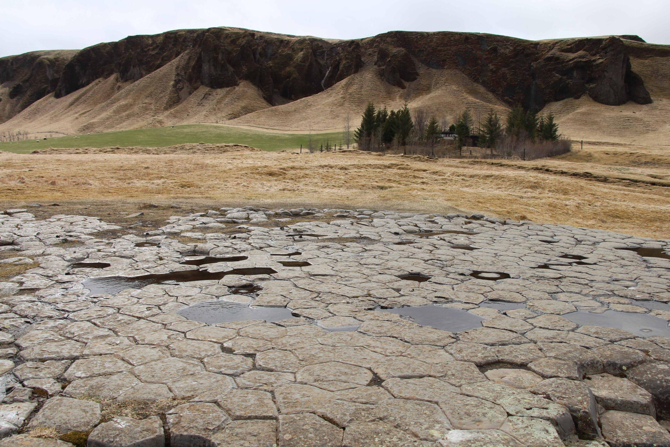 Kirkjugólf basalt column floor in south Iceland