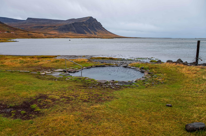 Krosslaug hot spring in Westfjords of Iceland
