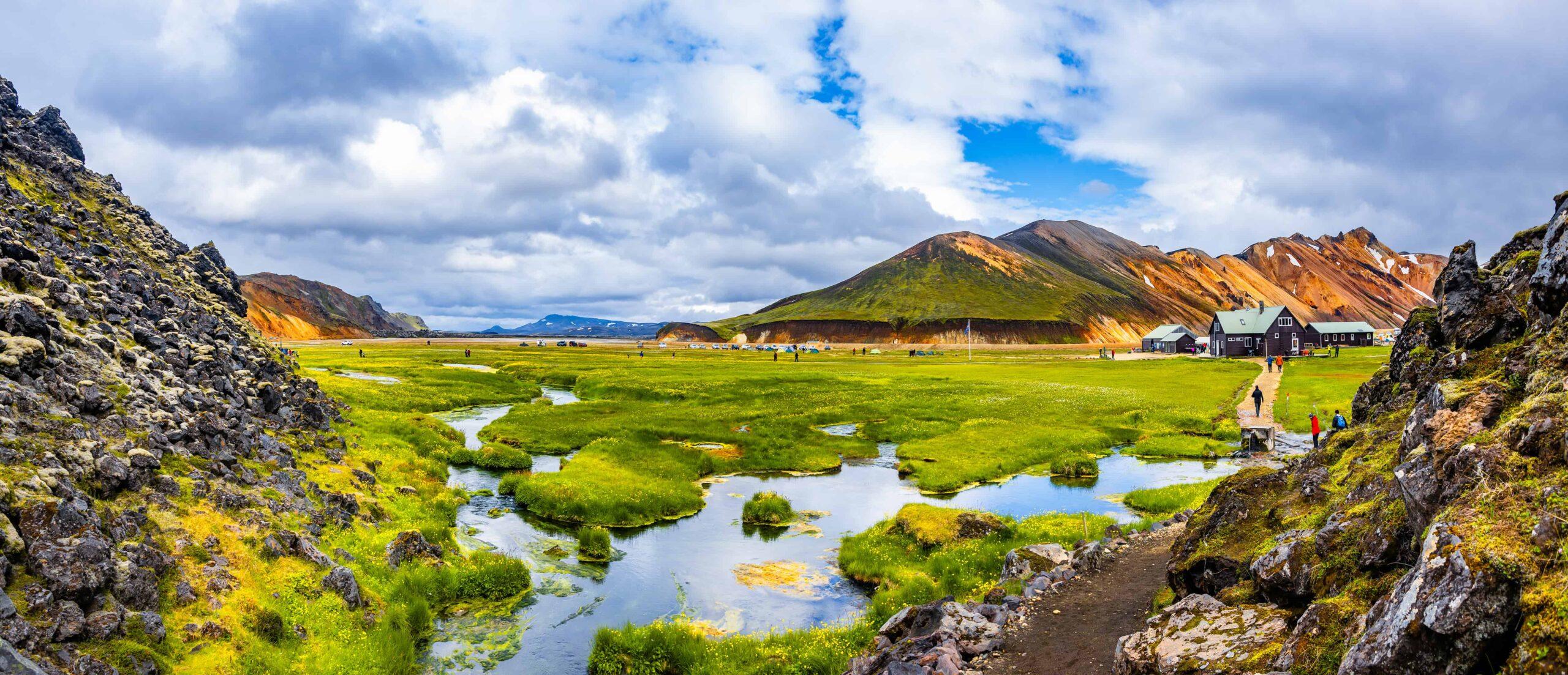 Landmannalaugar hot spring in the highlands of Iceland