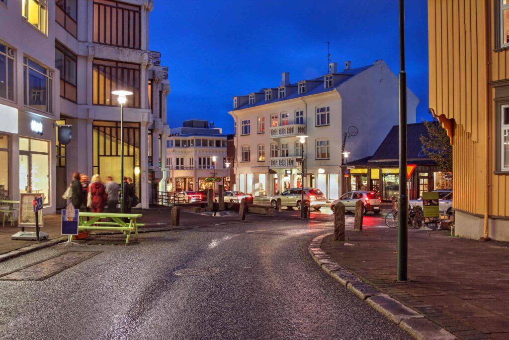 Laugavegur shopping street in Reykjavik