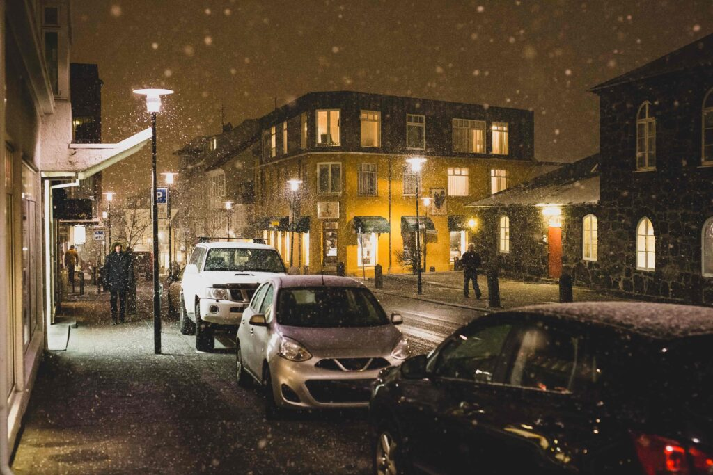 snow at Laugavegur shopping street in Reykjavik