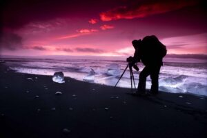 Photography in Iceland - sunset at the diamond beach