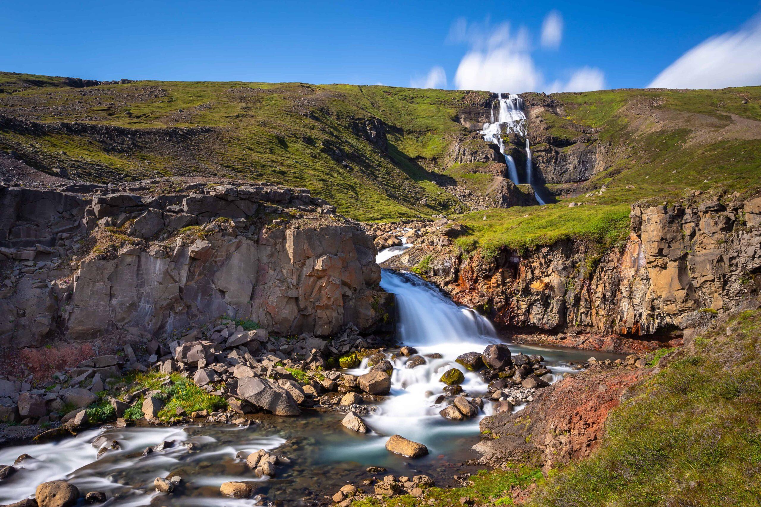 Rjúkandi waterfall in East Iceland