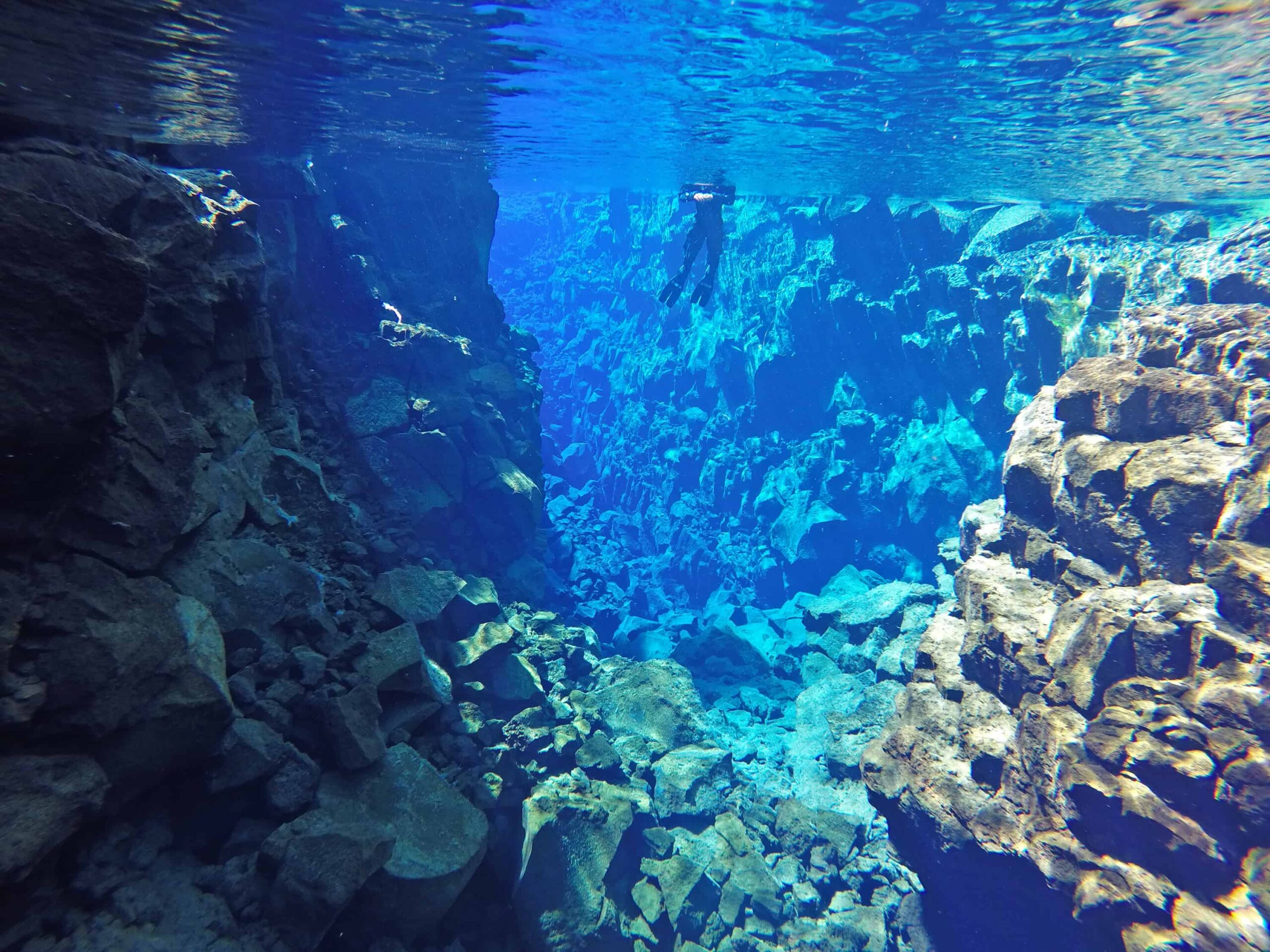 Silfra fissure in Þingvellir National Park - the rift between continents in Iceland north America and Europe