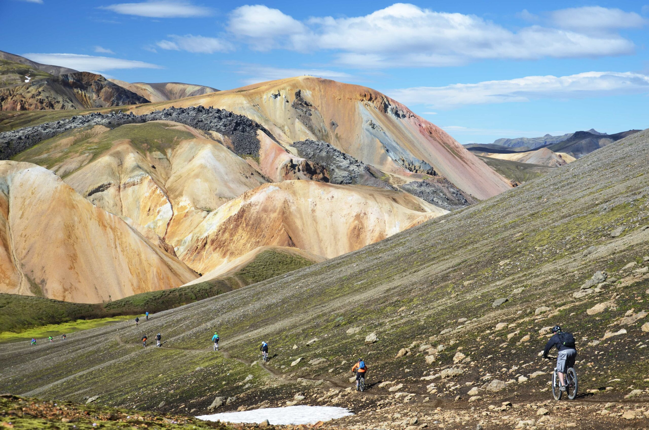 Cycling in Landmannalaugar the highlands of Iceland