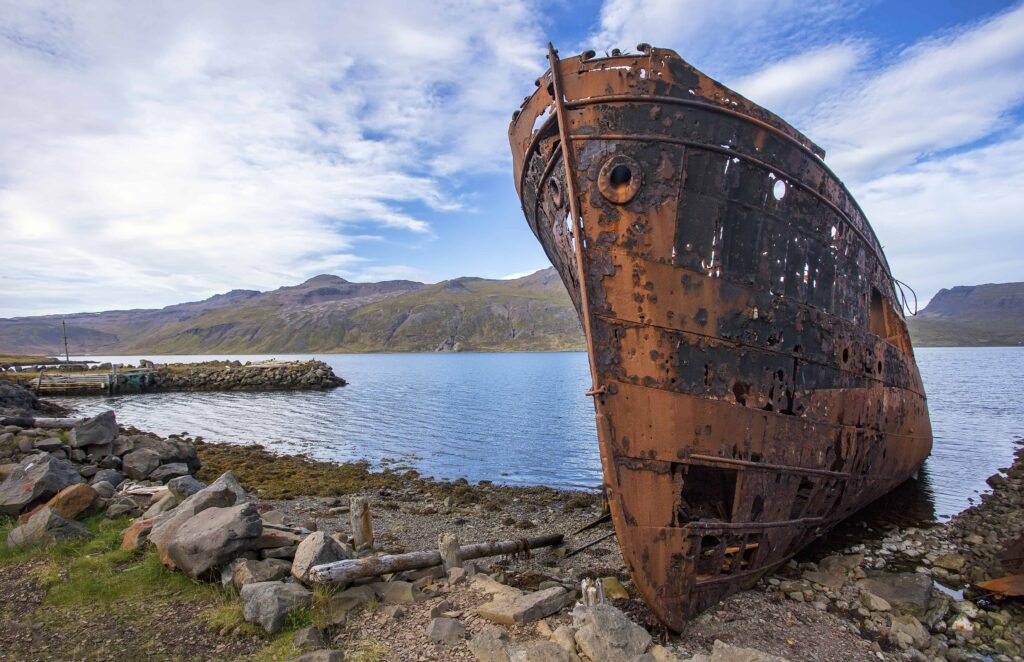 shipwreck in Djúpavík in Westfjords of Iceland
