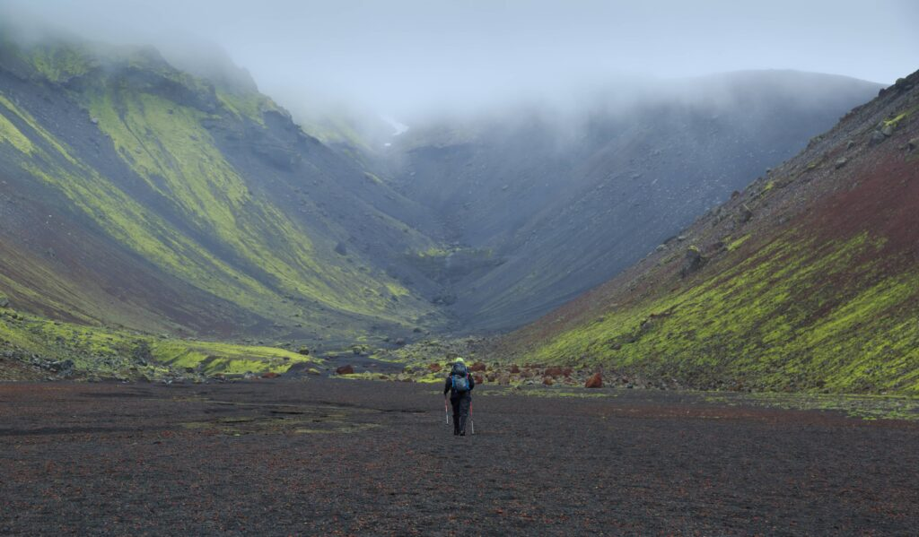 woman hiking in Eldgjá Crater in the highlands of Iceland