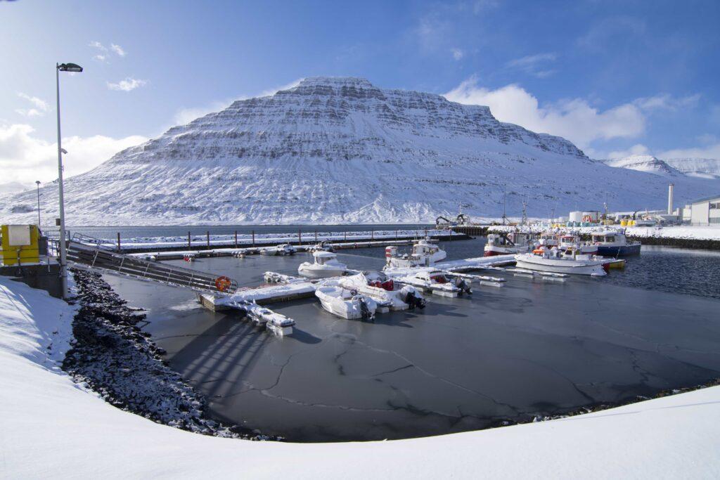 Hólmanes mountain in Eskifjörður village in the Eastfjords of Iceland