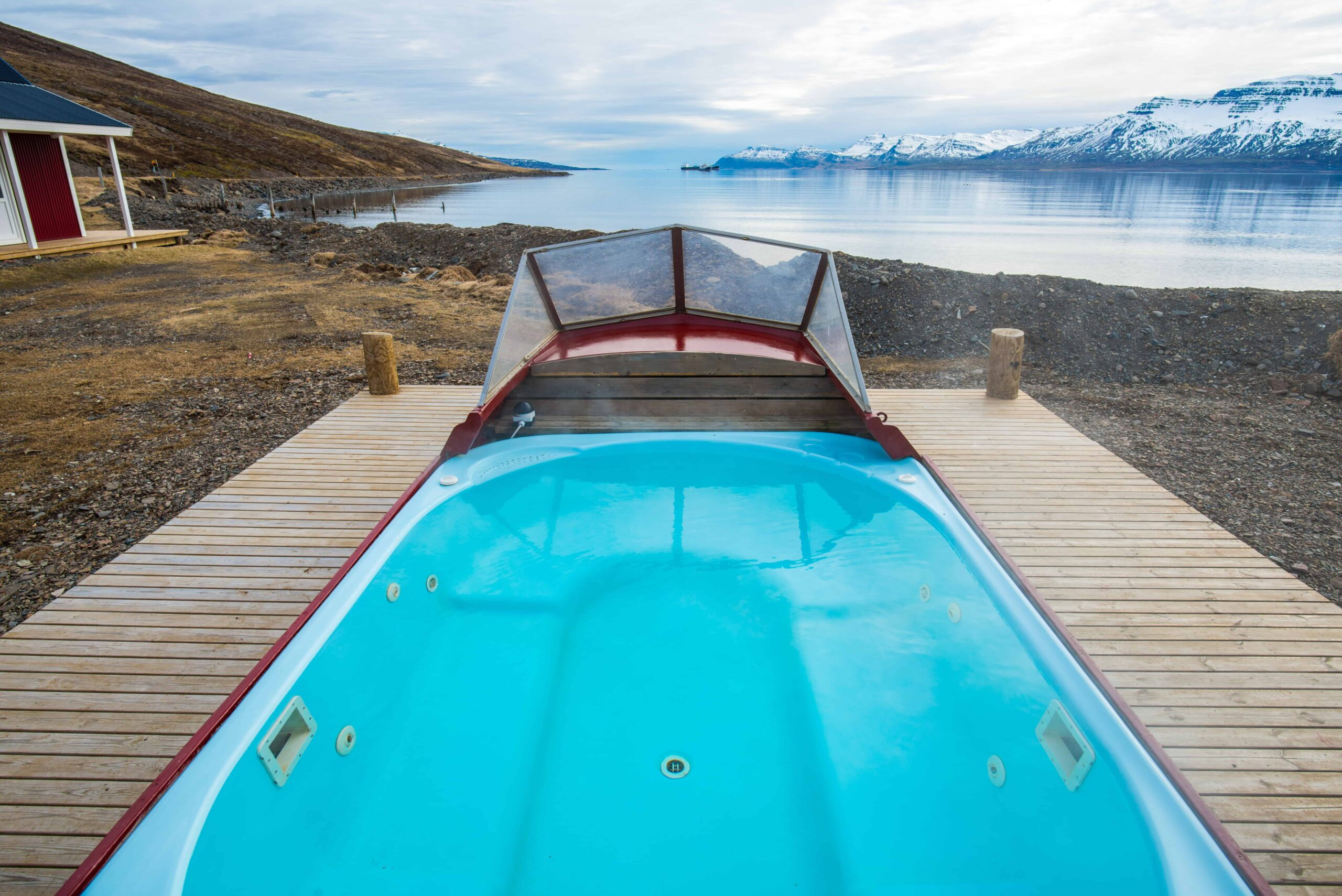 hot tub in Eskifjörður village in the Eastfjords of Iceland