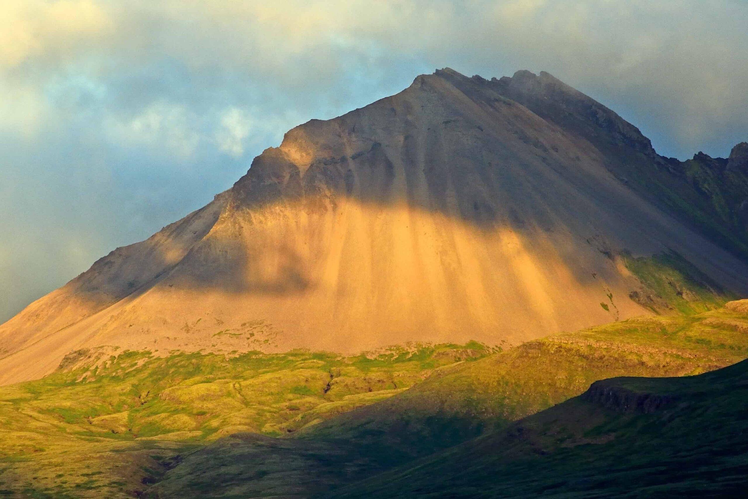 mountain in Fáskrúðsfjörður village in Eastfjords of Iceland