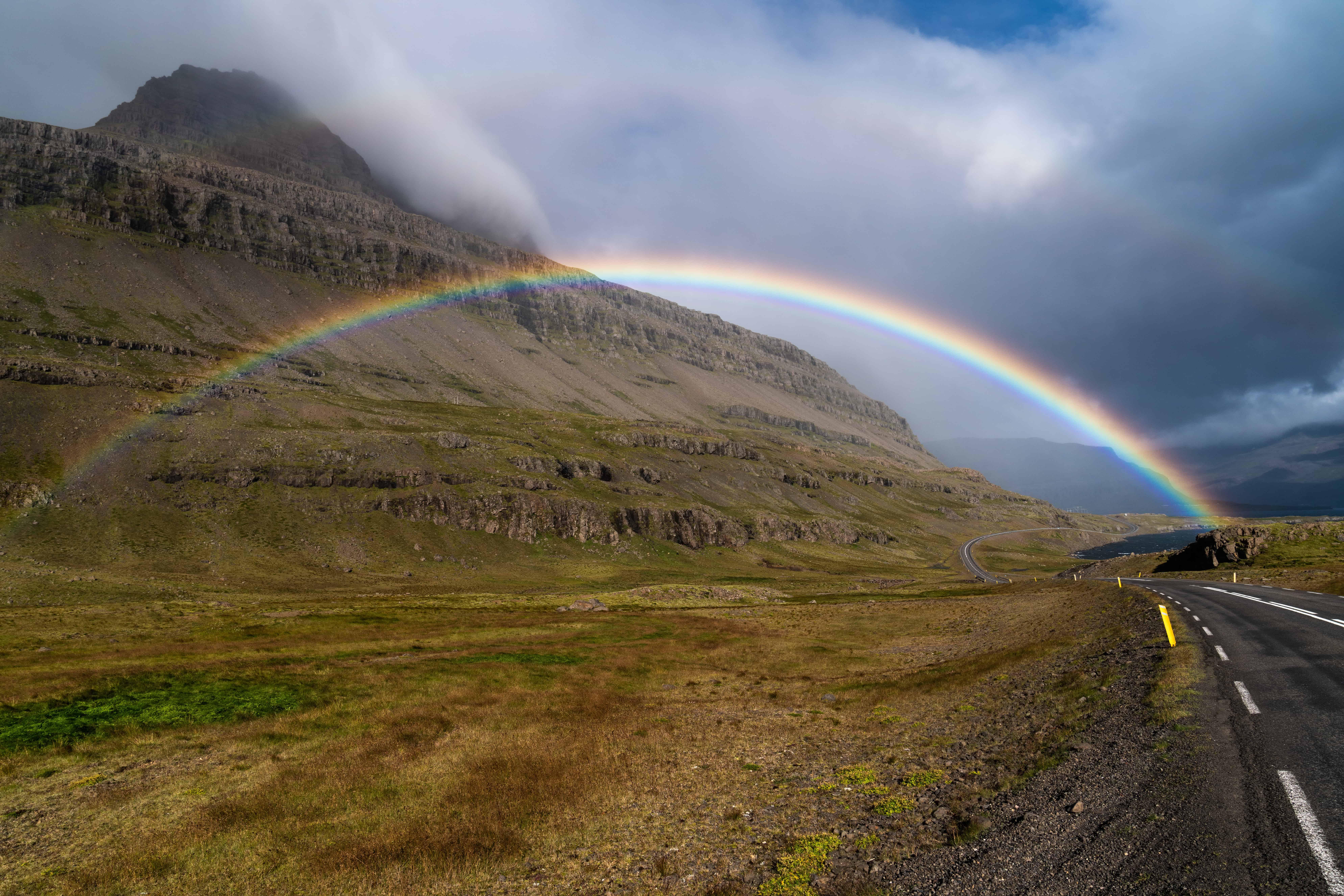 rainbow in Fáskrúðsfjörður village in Eastfjords of Iceland