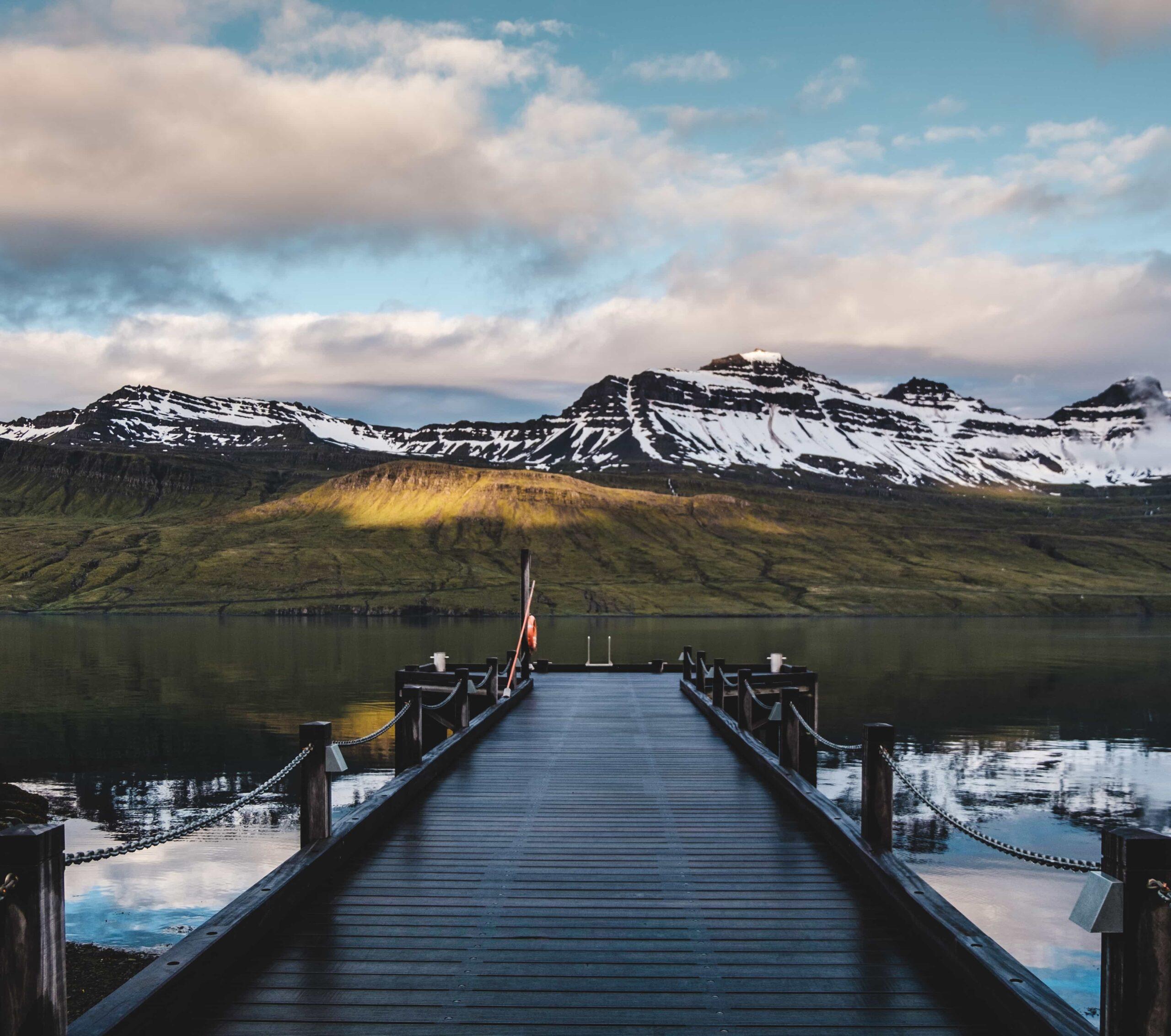 harbor in Fáskrúðsfjörður village in Eastfjords of Iceland