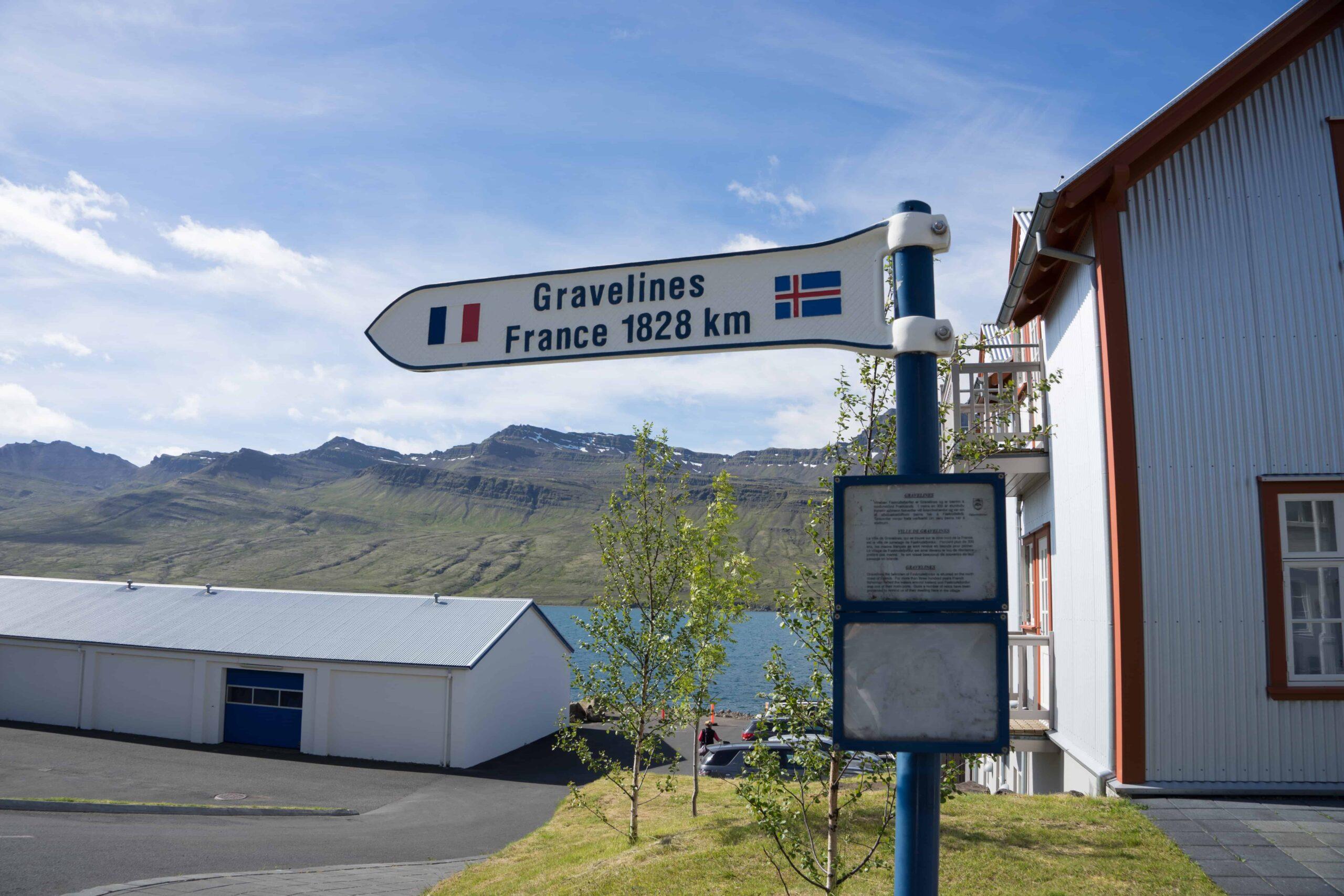 road signs in Fáskrúðsfjörður village in Eastfjords of Iceland