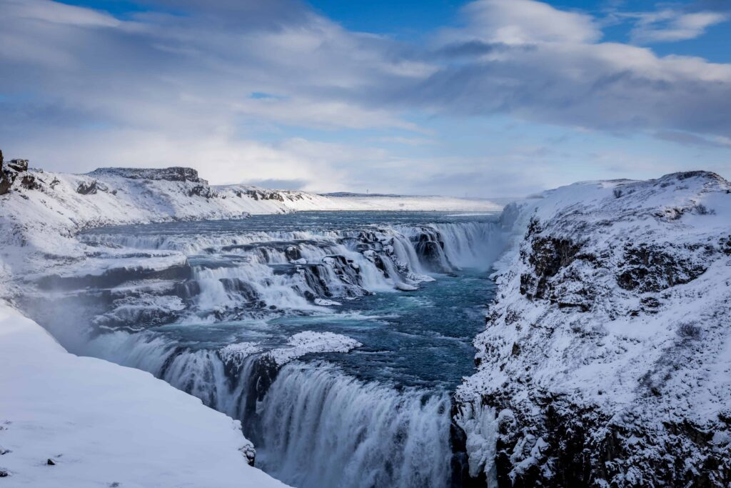 Gullfoss waterfall in Golden Circle Iceland, winter and snow in Iceland