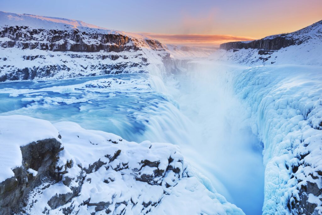 Gullfoss waterfall in Golden Circle Iceland, winter and snow at Gullfoss in Iceland