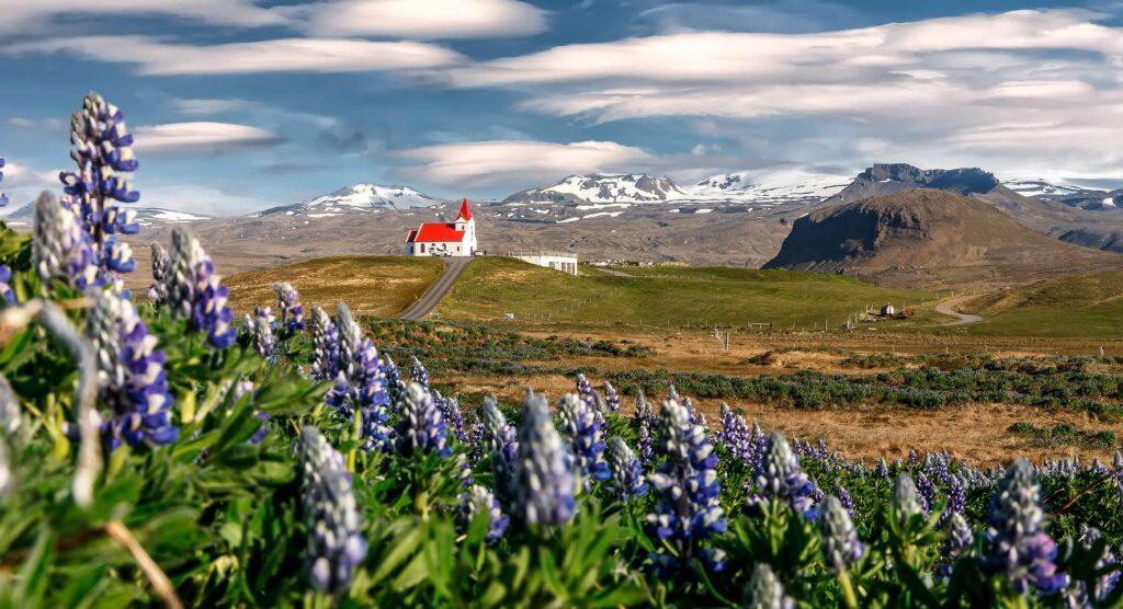 Hellissandur church and Snæfellsjokull glacier in Snæfellsnes Peninsula