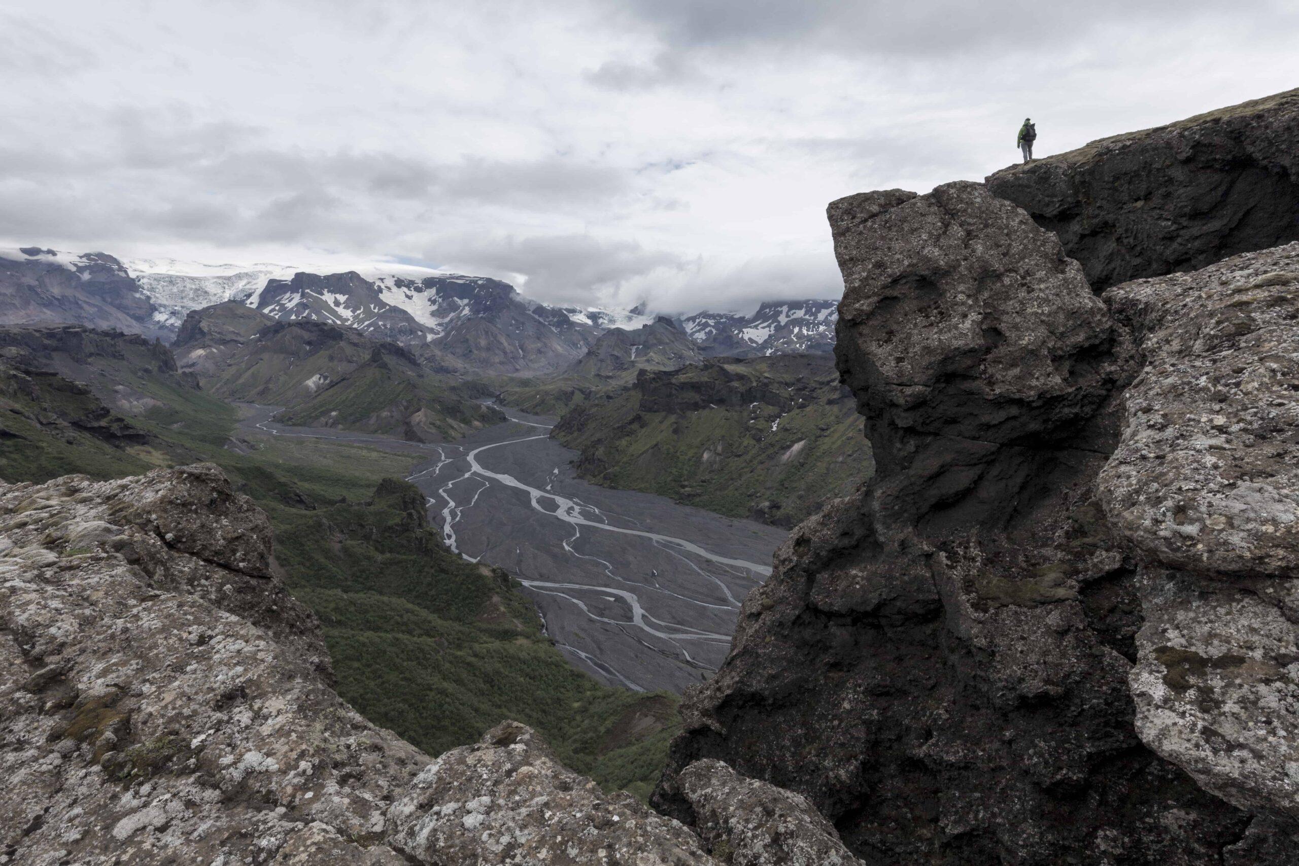 Hiking in Þórsmörk the highlands of Iceland