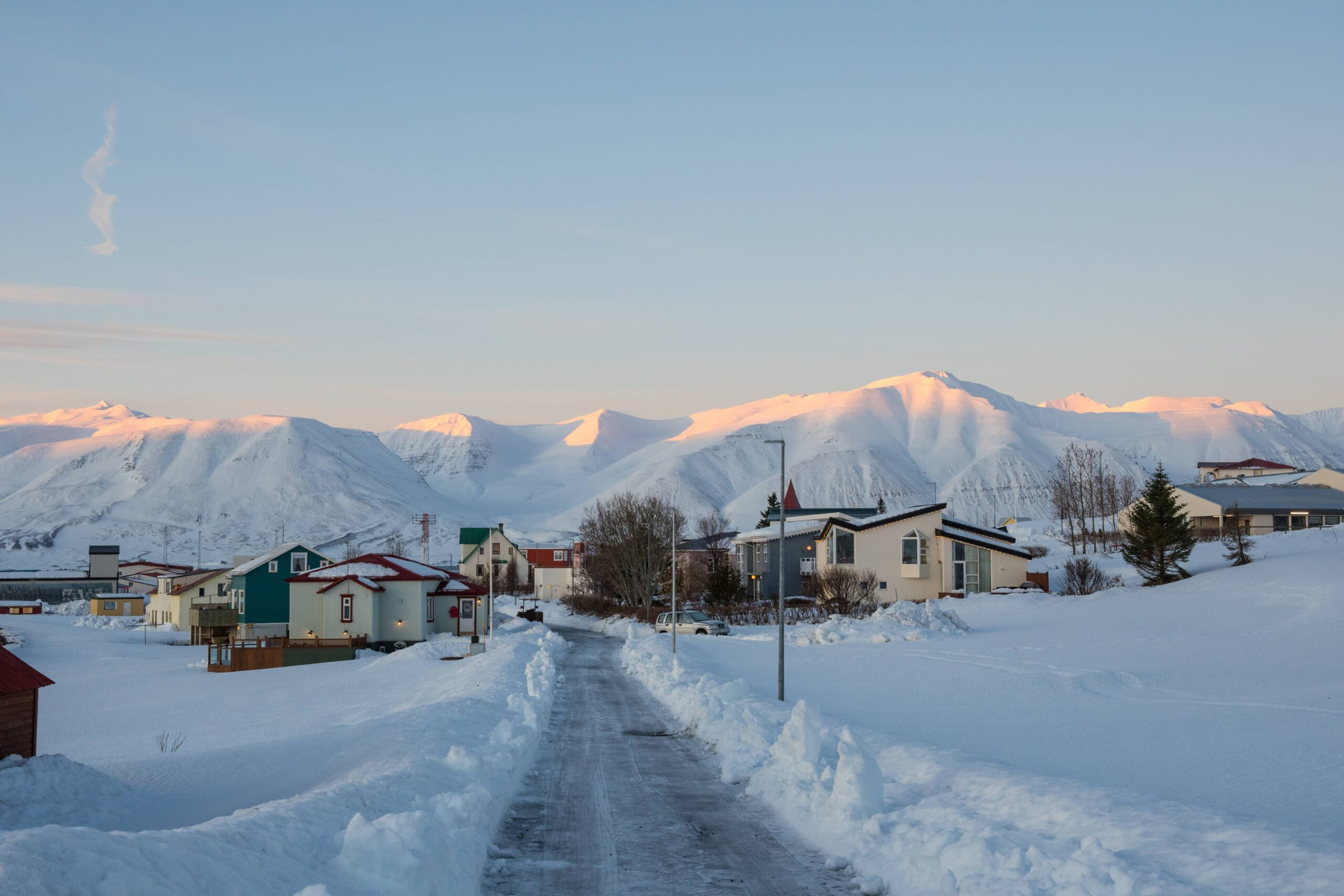 snow and winter in Hrísey island in north Iceland