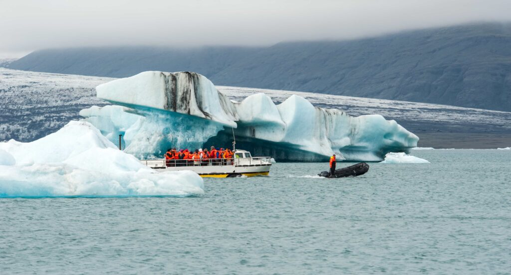 boat tour on Jokulsarlon glacier lagoon in south Iceland - south Iceland