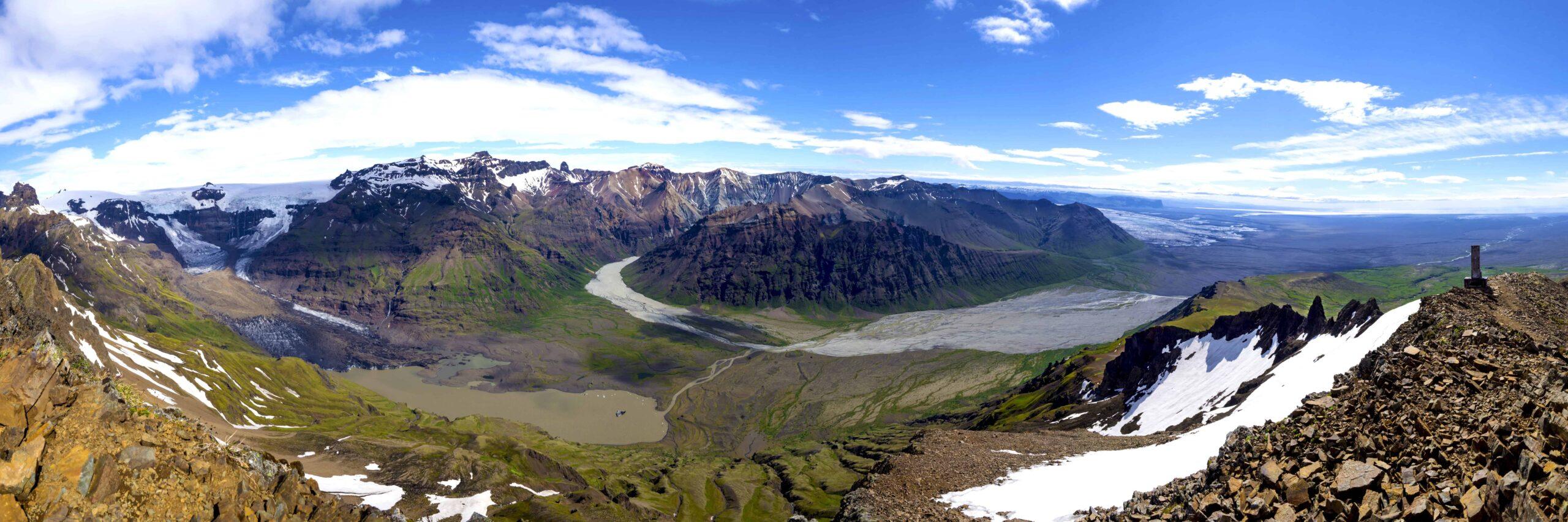View from Kristínartindar Mountains in Skaftafell Nature Reserve
