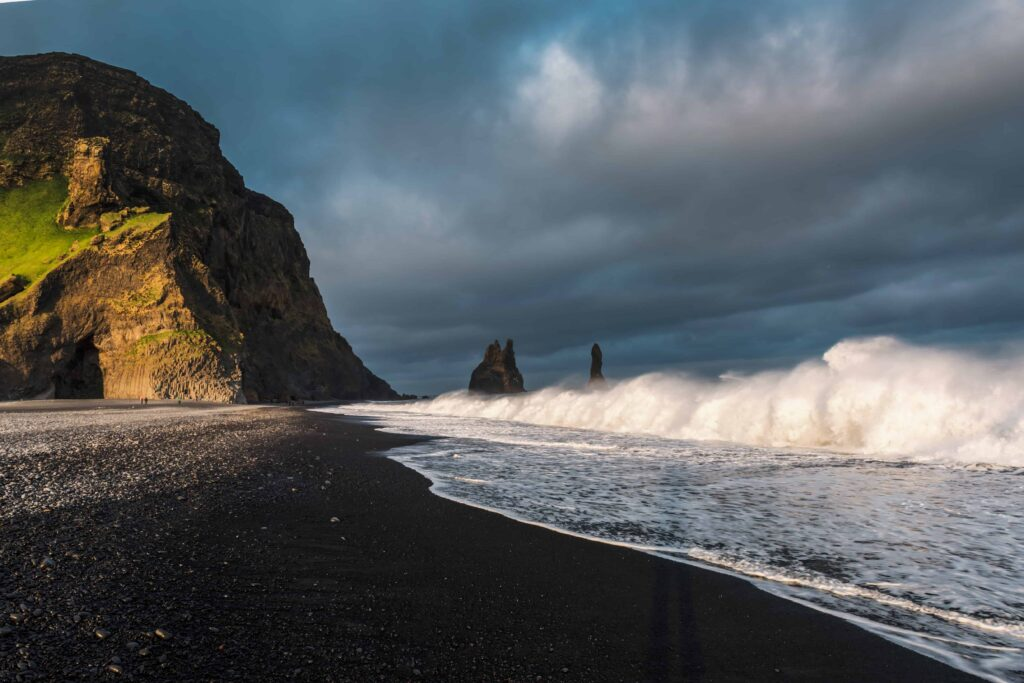 Reynisdrangar on Reynisfjara black sand beach in south Iceland