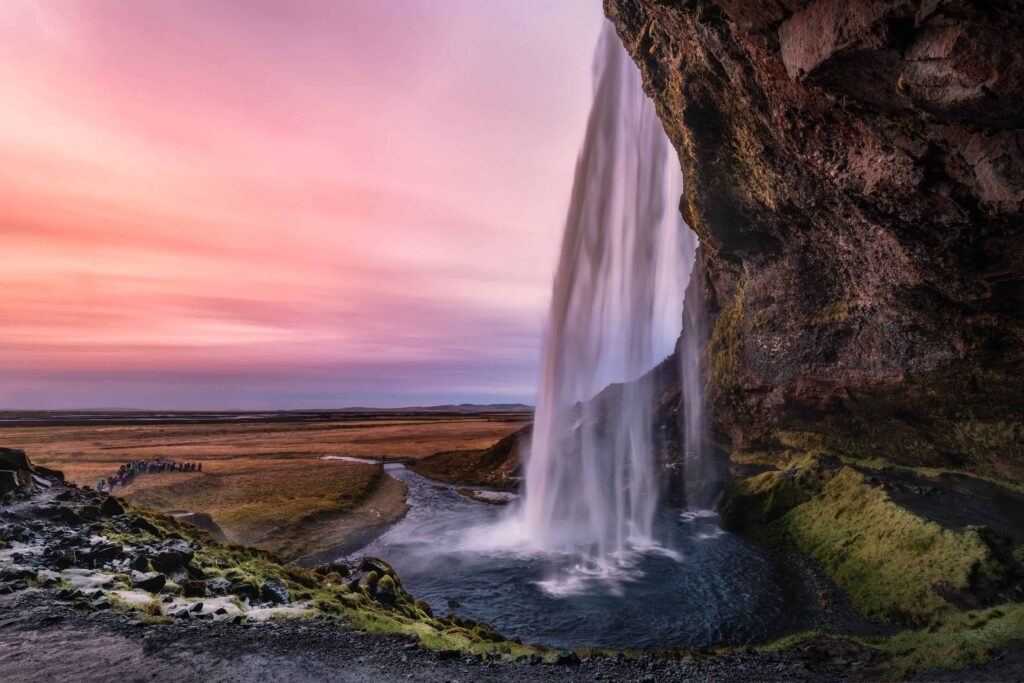 Seljalandsfoss walk behind waterfall in south Iceland