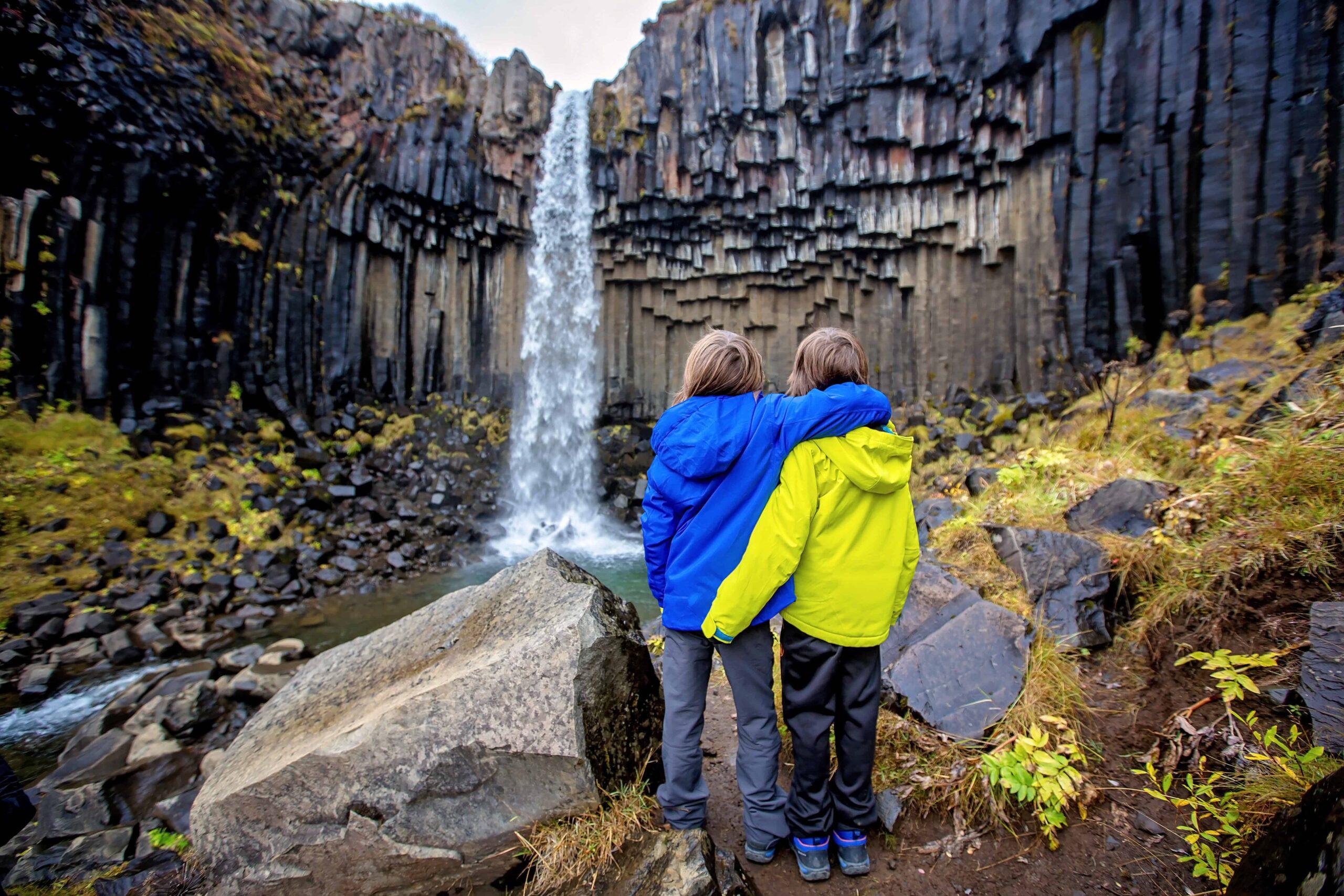 brothers at Svartifoss waterfall in Skaftafell Vatnajökull National Park in south Iceland