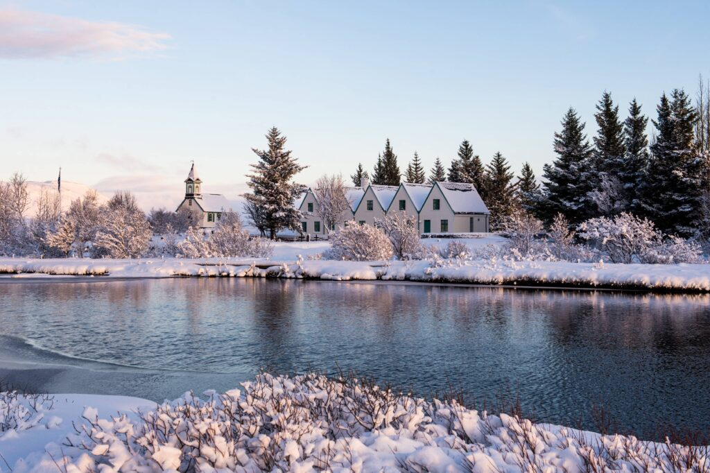 winter and snow at Þingvellir National Park - Golden Circle