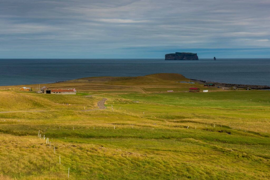 Drangey Island in north Iceland seen from land