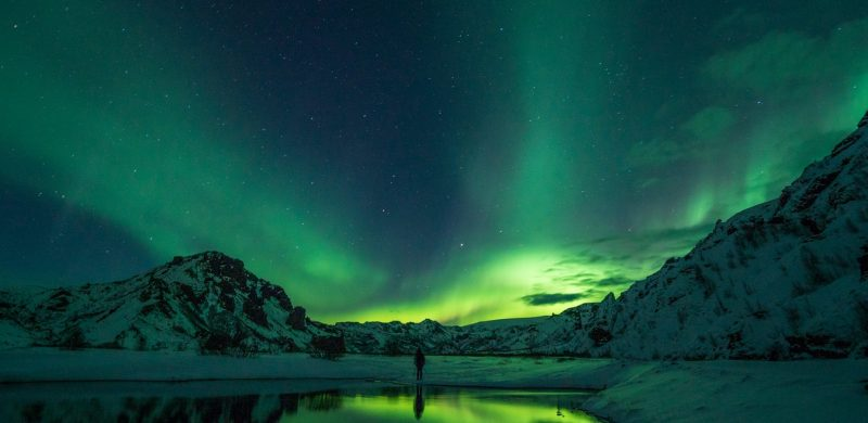 Northern Lights in Þórsmörk in the highlands of Iceland