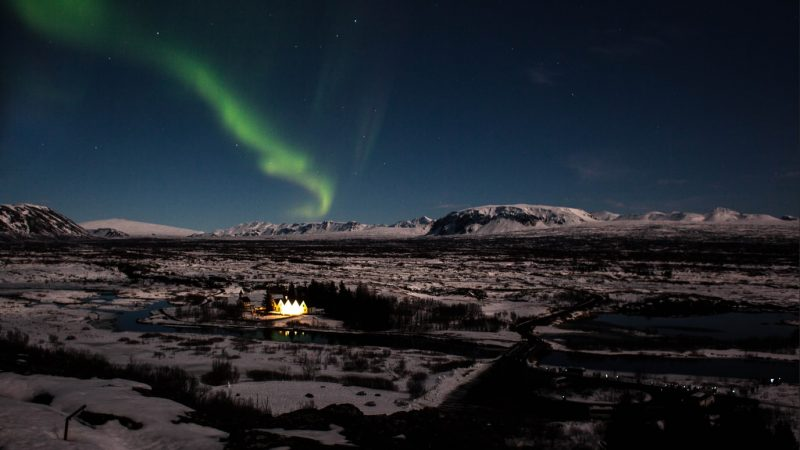Northern lights over thingvellir national park in the golden circle in Iceland