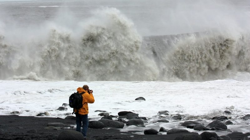 waves at Reynisfjara black sand beach in south Iceland