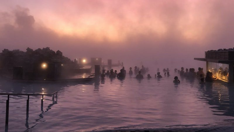 pink hour sunset at the Blue Lagoon in Iceland
