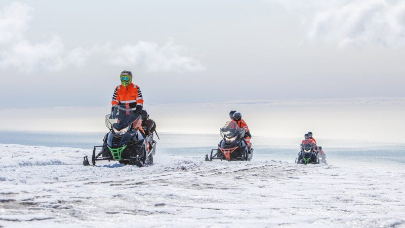 Snowmobile on Myrdalsjokull glacier in south Iceland