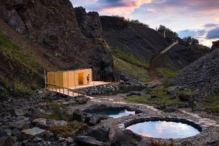 Giljaböð hot springs in the highlands of Iceland from Húsafell