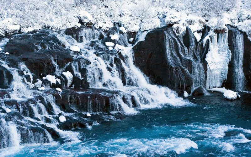 Hraunfossar waterfalls during winter