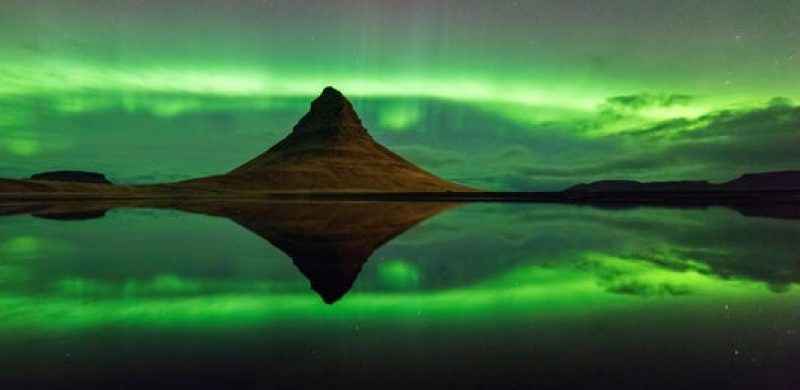 northern lights at Kirkjufell mountain in Snæfellsnes Peninsula