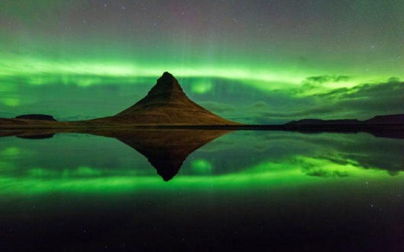 northern lights at Kirkjufell mountain in Snæfellsnes Peninsula