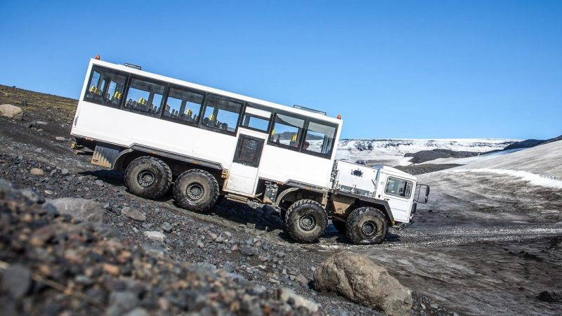 glacier truck on the way to Myrdalsjokull glacier in south Iceland
