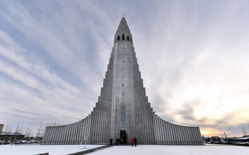 Hallgrimskirkja church in downtown Reykjavik on the Reykjavik walking tour