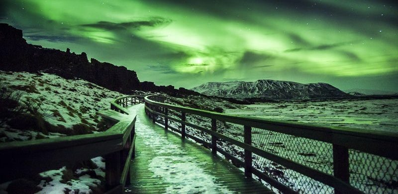 Northern lights at Þingvellir National Park in Iceland