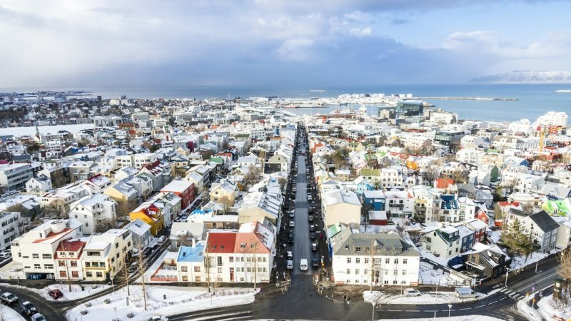 view from Hallgrimskirkja church in downtown Reykjavik on the Reykjavik walking tour