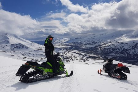 views from Eyjafjallajokull volcano and glacier snowmobile tour