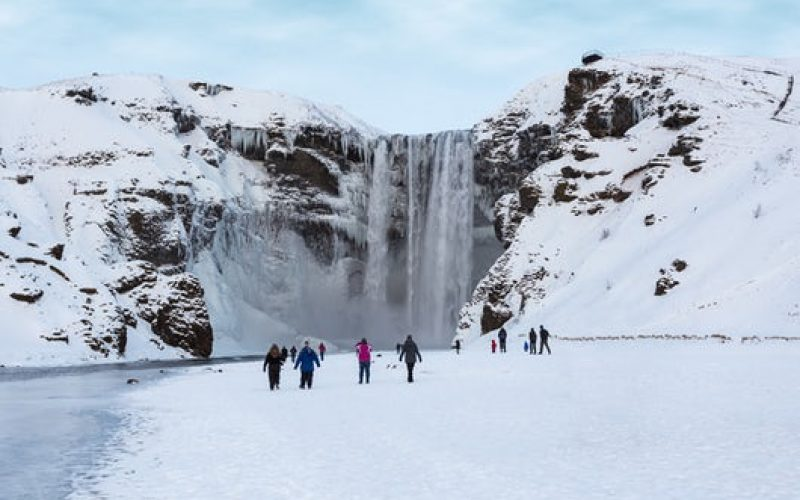 Skógafoss during winter
