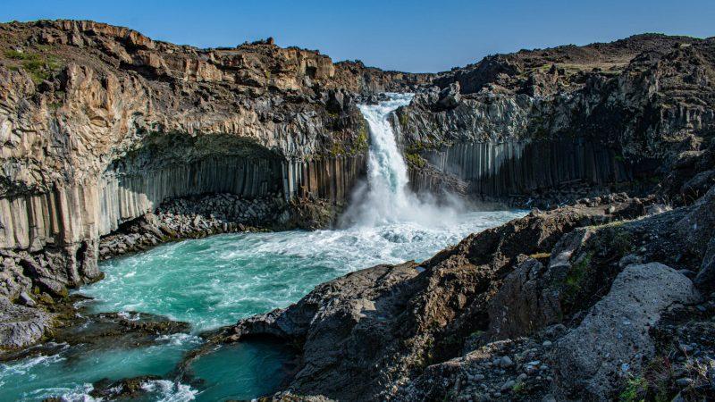 Aldeyjarfoss waterfall in north Iceland