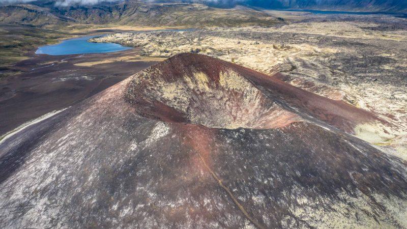 Crater in Berserkjahraun lava fields in Snæfellsnes Peninsula