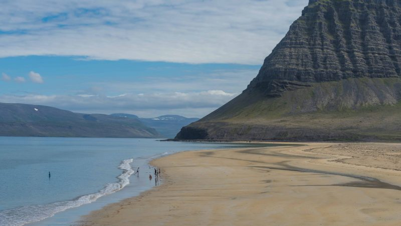 beach in Bíldudalur fishing village in westfjords of Iceland