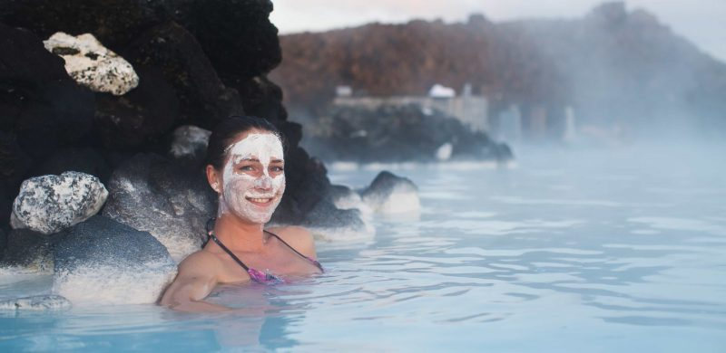 Blue lagoon skin care in Iceland, arriving early in Iceland