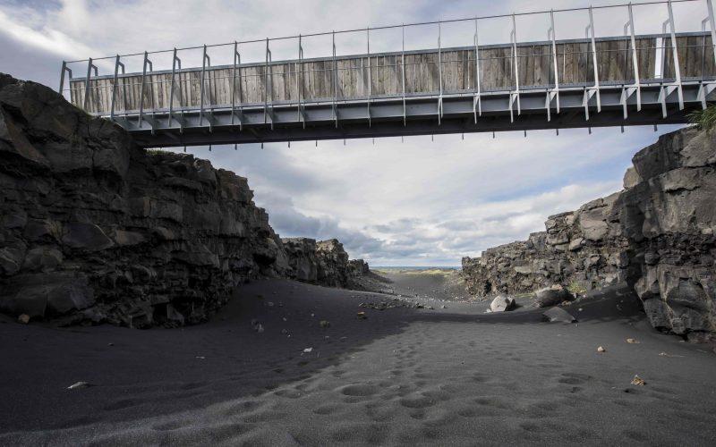 Bridge between continents in Reykjanes Peninsula Iceland, bridge between North America and Europe in Iceland